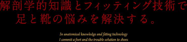 解剖学的知識とフィッティング技術で足と靴の悩みを解決する。